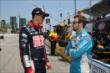 Graham Rahal and James Hinchcliffe chat on pit lane prior to practice for the Honda Indy Toronto -- Photo by: Chris Jones