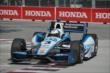 Helio Castroneves apexes Turn 1 during practice for the Honda Indy Toronto -- Photo by: Chris Owens