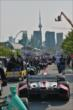 Cars are wheeled out to pit lane prior to practice for the Honda Indy Toronto -- Photo by: Chris Owens