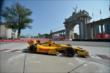 Ryan Hunter-Reay passes by the Princes' Gate at Turn 1 during practice for the Honda Indy Toronto -- Photo by: Eric Anderson