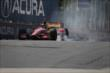 Sebastian Saavedra locks up his tires entering Turn 5 during practice for the Honda Indy Toronto -- Photo by: Joe Skibinski