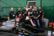 Members of the Rahal Letterman Lanigan Racing team welcome Tori Lacey from the Fight SMA (Spinal Muscular Atrophy) Canada organization in Toronto -- Photo by: Chris Jones