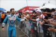 Canadian James Hinchcliffe greets the Toronto fans during pre-race ceremonies for Race 1 of the Honda Indy Toronto -- Photo by: Chris Jones