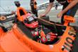 Simon Pagenaud gets strapped into his machine prior to the attempted start of Race 1 of the Honda Indy Toronto -- Photo by: Chris Owens