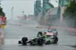 Sebastien Bourdais enters Turn 1 during the attempted start of Race 1 of the Honda Indy Toronto -- Photo by: Chris Owens