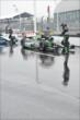 The KVSH Racing team bring Sebastien Bourdais into pit lane during the rain delay in Toronto -- Photo by: Eric Anderson