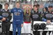 Canadian actress Sarah Fisher with Josef Newgarden and members of the Sarah Fisher Hartman Racing team on the grid in Toronto -- Photo by: Joe Skibinski