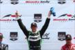 Sebastien Bourdais celebrates his victory in Race 1 of the Honda Indy Toronto -- Photo by: Chris Jones