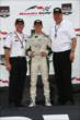 Mike Conway with Chevrolet executive Jim Campbell and Team Owner Ed Carpenter after winning Race 2 of the Honda Indy Toronto -- Photo by: Chris Jones