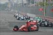 Tony Kanaan leads a group into Turn 1 during Race 2 of the Honda Indy Toronto -- Photo by: Chris Owens