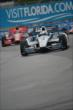 Helio Castroneves and Tony Kanaan exit Turn 9 during Race 2 of the Honda Indy Toronto -- Photo by: Eric Anderson