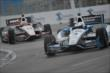 Teammates Helio Castroneves and Will Power enter Turn 10 during Race 2 of the Honda Indy Toronto -- Photo by: Eric Anderson
