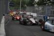 The field streams into Turn 5 during Race 2 of the Honda Indy Toronto -- Photo by: Joe Skibinski