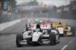 Sebastien Bourdais leads the field into Turn 3 during Race 1 of the Honda Indy Toronto -- Photo by: Shawn Gritzmacher